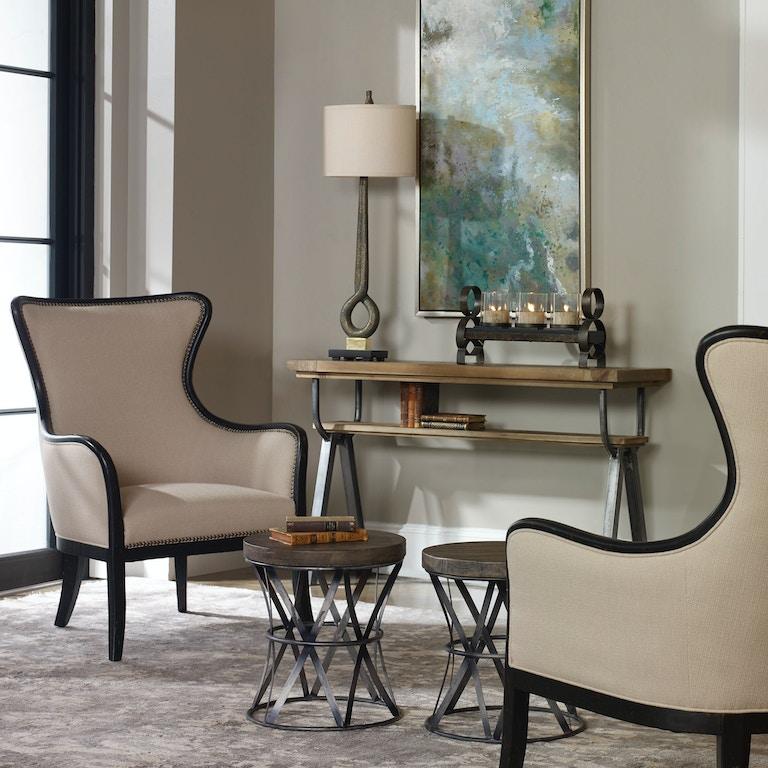 Uttermost living room sandy wing back armchair 23073 - Living room furniture fort myers fl ...