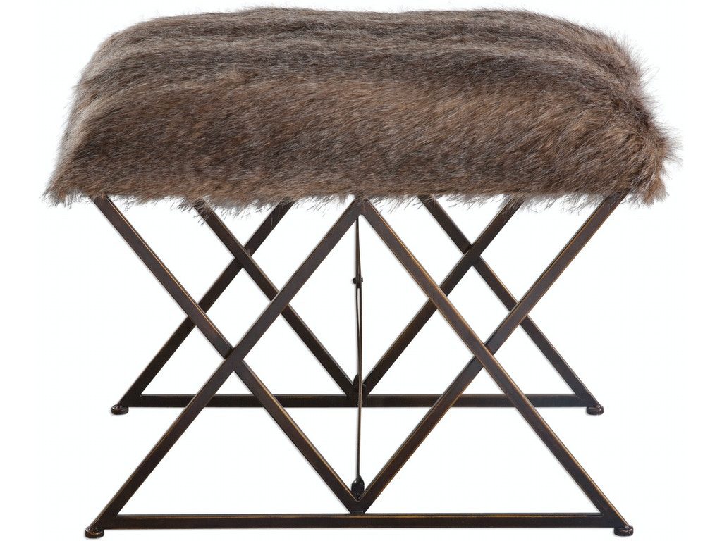 Uttermost living room brannen plush small bench 23277 for Small stuffed chairs