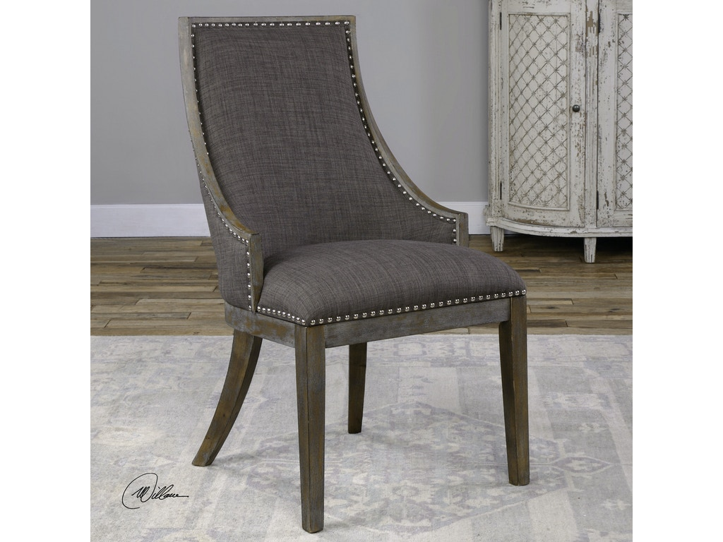 Uttermost Living Room Aidrian Charcoal Gray Accent Chair 23305 Charter Furniture Dallas