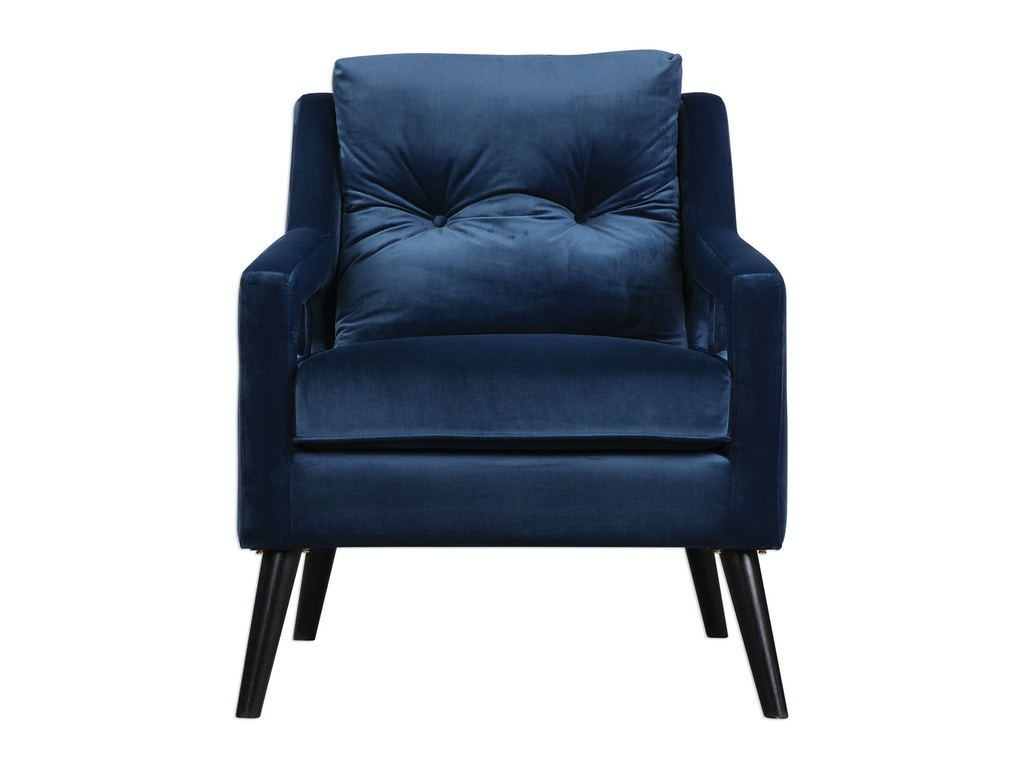 uttermost o'brien blue velvet armchair . uttermost living room o'brien blue velvet armchair