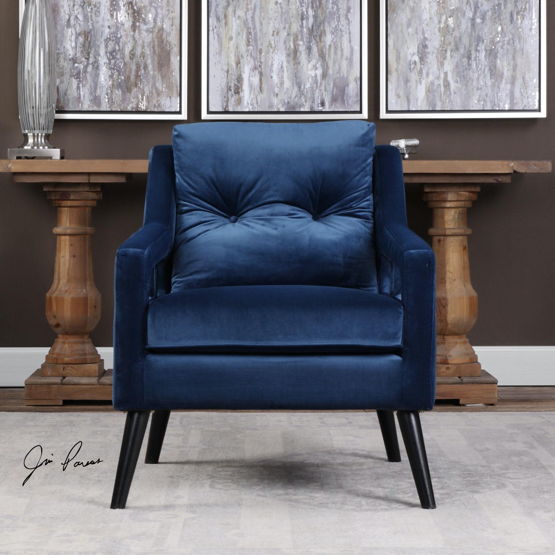 Uttermost Ou0027Brien Blue Velvet Armchair 23318