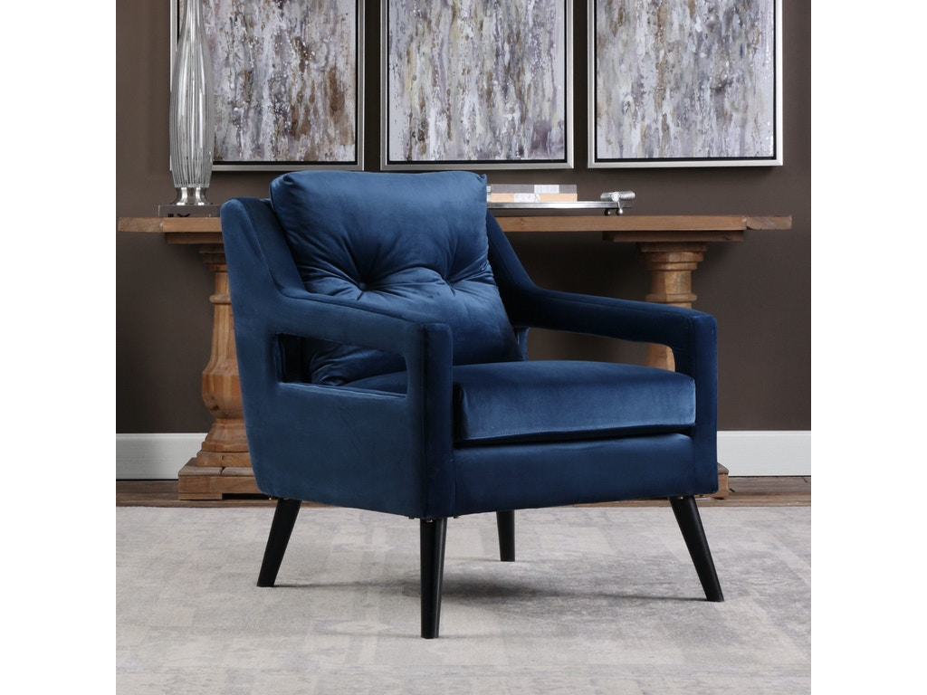 Uttermost Living Room O Brien Blue Velvet Armchair 23318