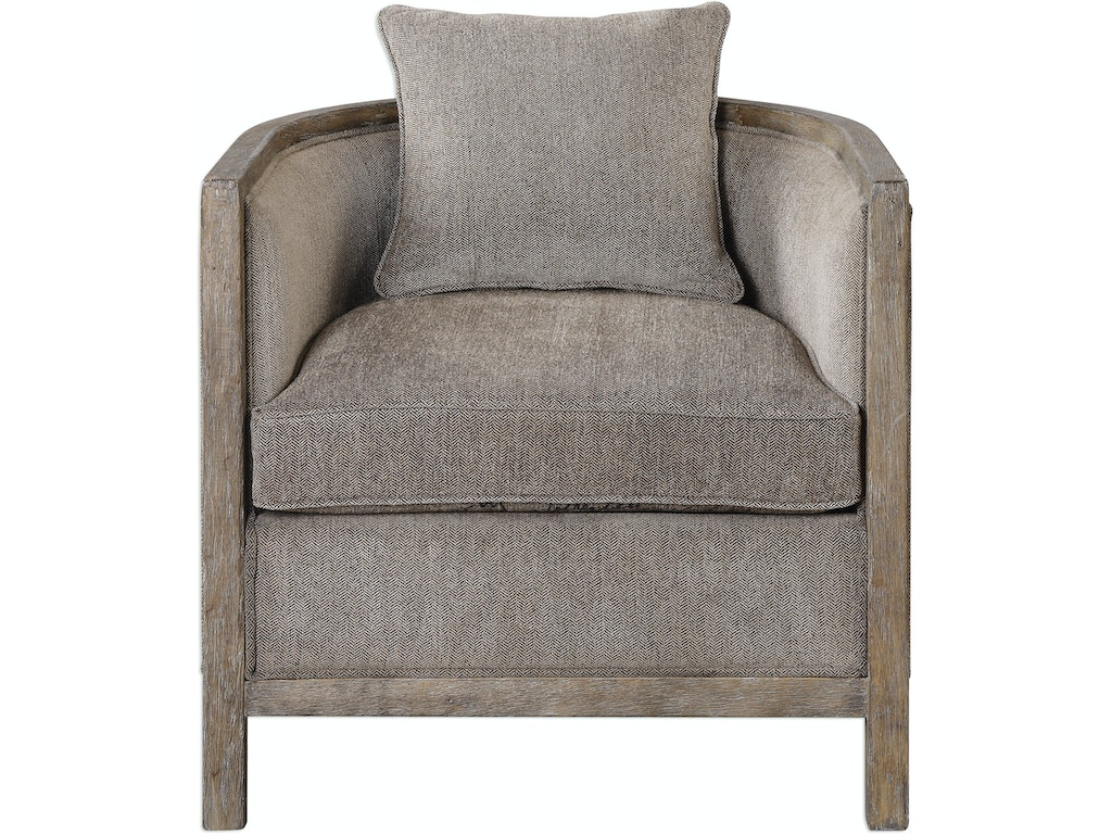 Uttermost Living Room Viaggio Gray Chenille Accent Chair 23359 Finesse Furniture Interiors