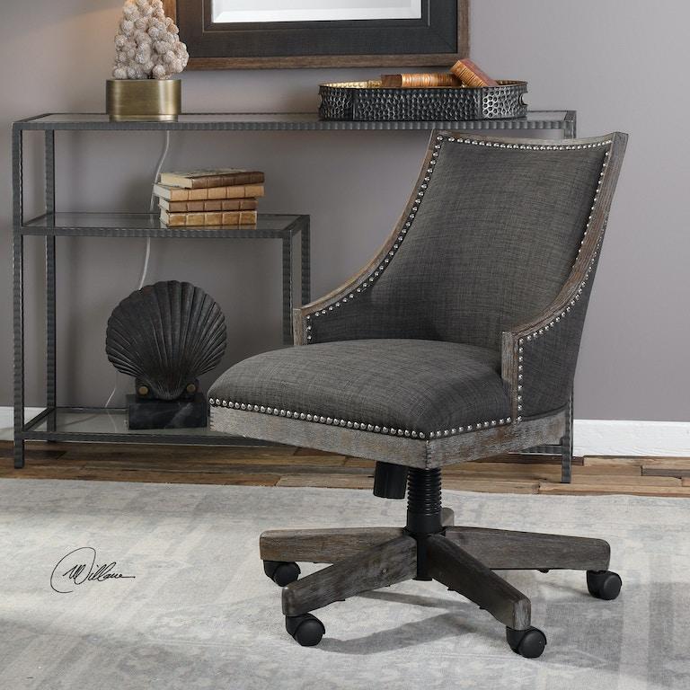 Aspenhome Warm Cherry Executive Modular Home Office: Uttermost Home Office Aidrian Charcoal Desk Chair 23431