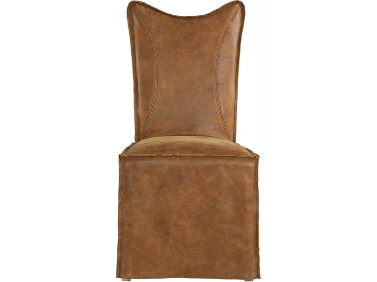 Uttermost Dining Room Delroy Armless Chairs Cognac Set Of 2 23447 2 Bacons Furniture Port