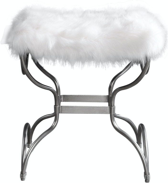 Uttermost Bedroom Channon White Fur Small Bench - Skaff ...
