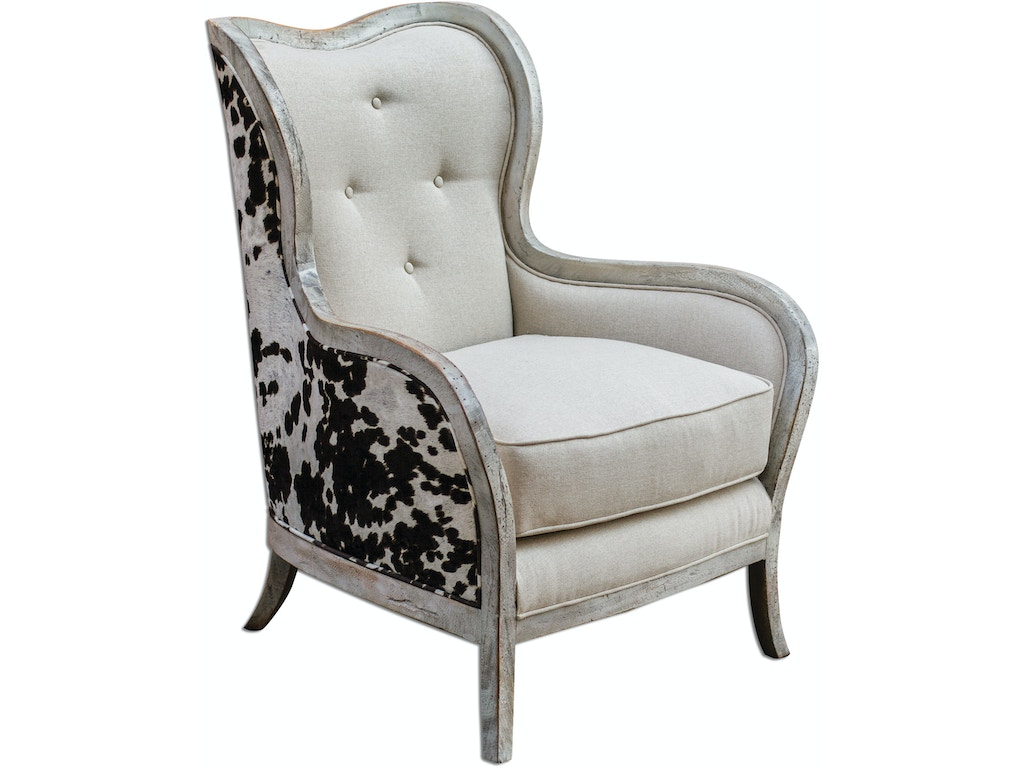 Uttermost Living Room Chalina High Back Armchair 23611 Hickory Furniture Mart Hickory Nc