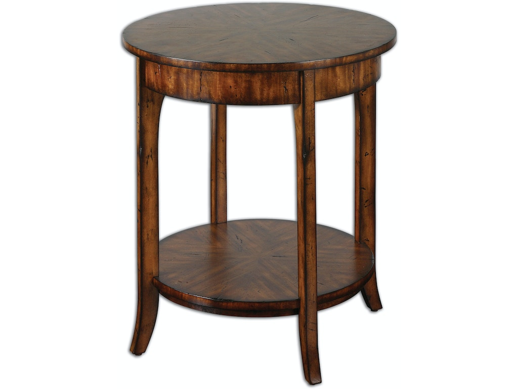 Uttermost Living Room Carmel Round Lamp Table 24228 Indian River Furniture Rockledge Fl
