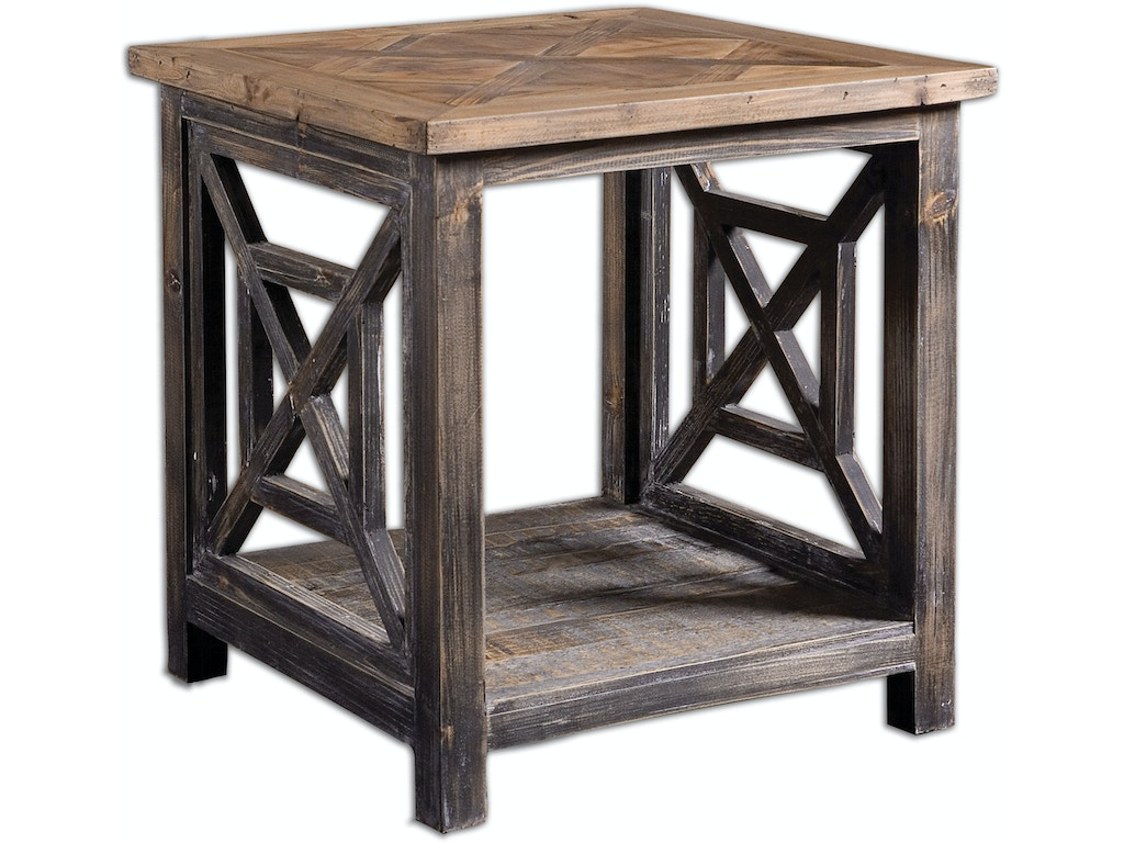 Uttermost Living Room Spiro Reclaimed Wood End Table 24263