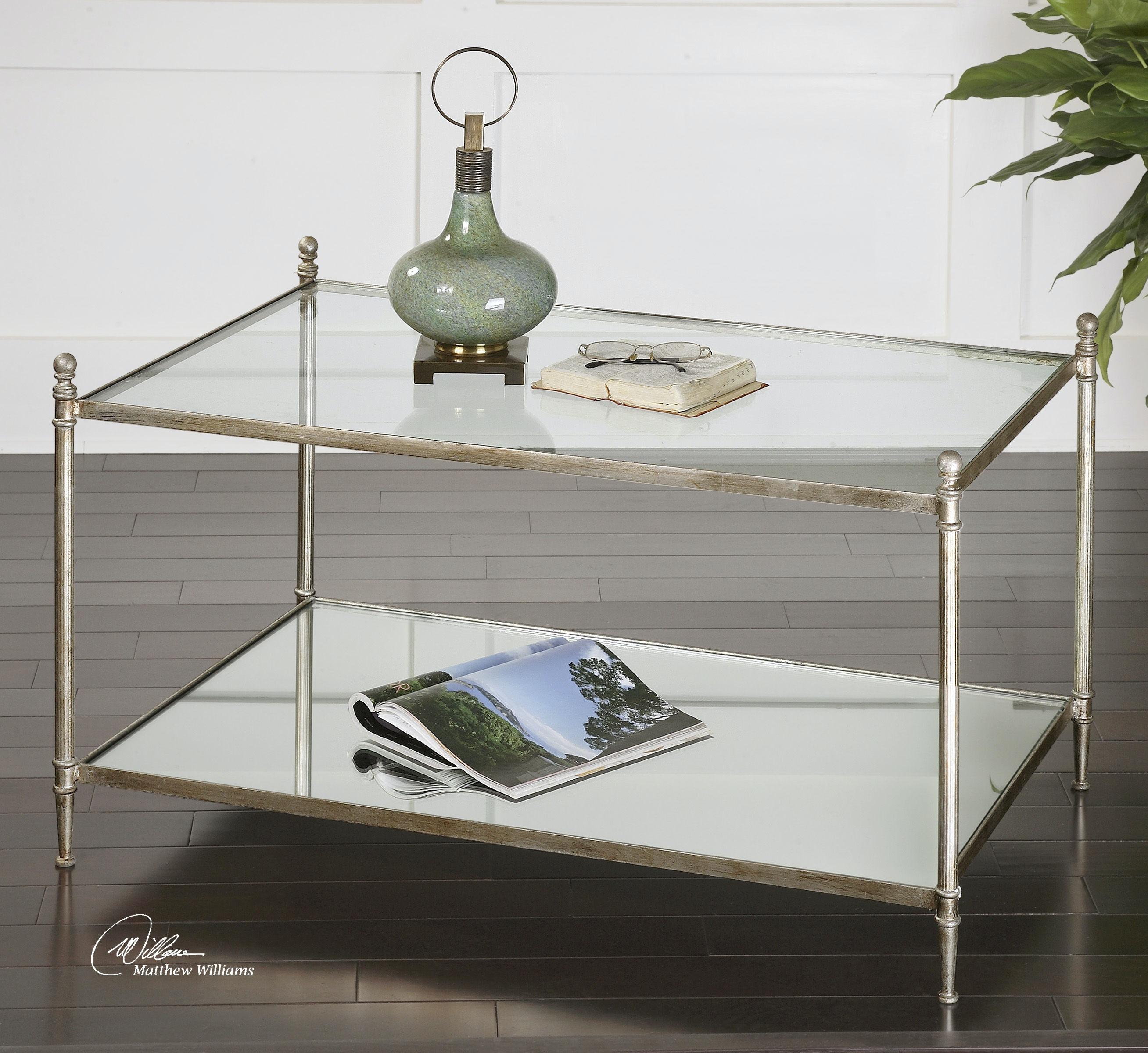 Bon Uttermost Gannon Mirrored Glass Coffee Table 24281