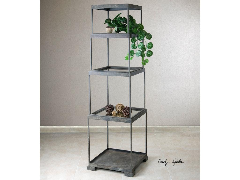 uttermost living room friedman metal etagere. Black Bedroom Furniture Sets. Home Design Ideas