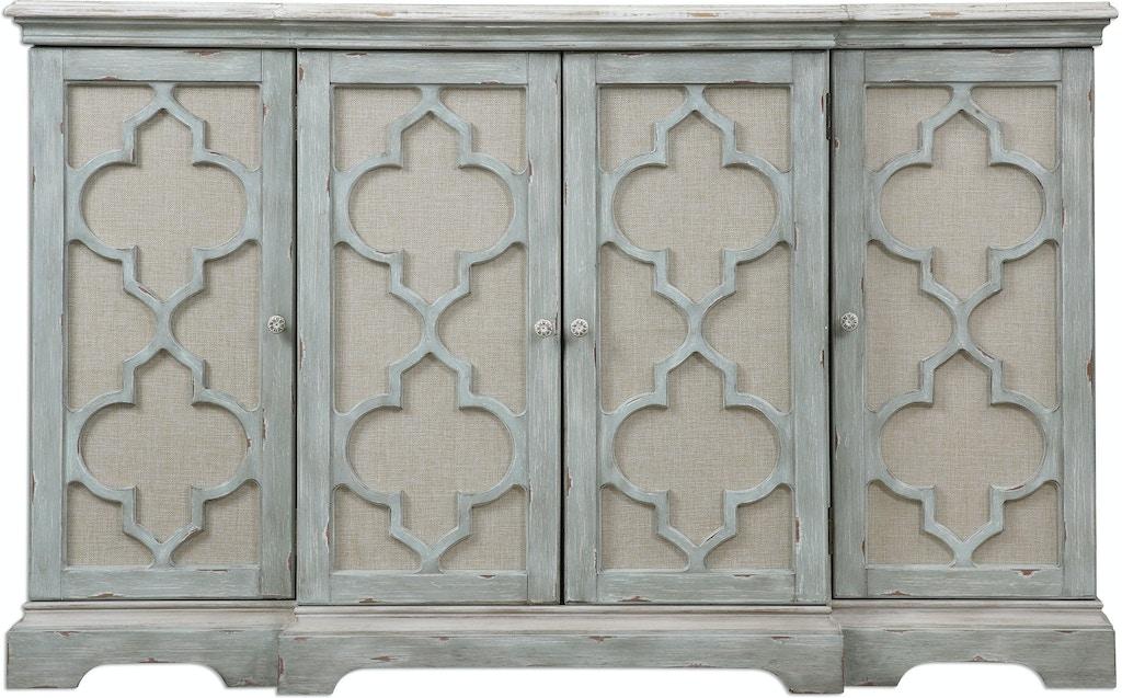 Uttermost living room sophie 4 door grey cabinet 24520 - Living room furniture fort myers fl ...