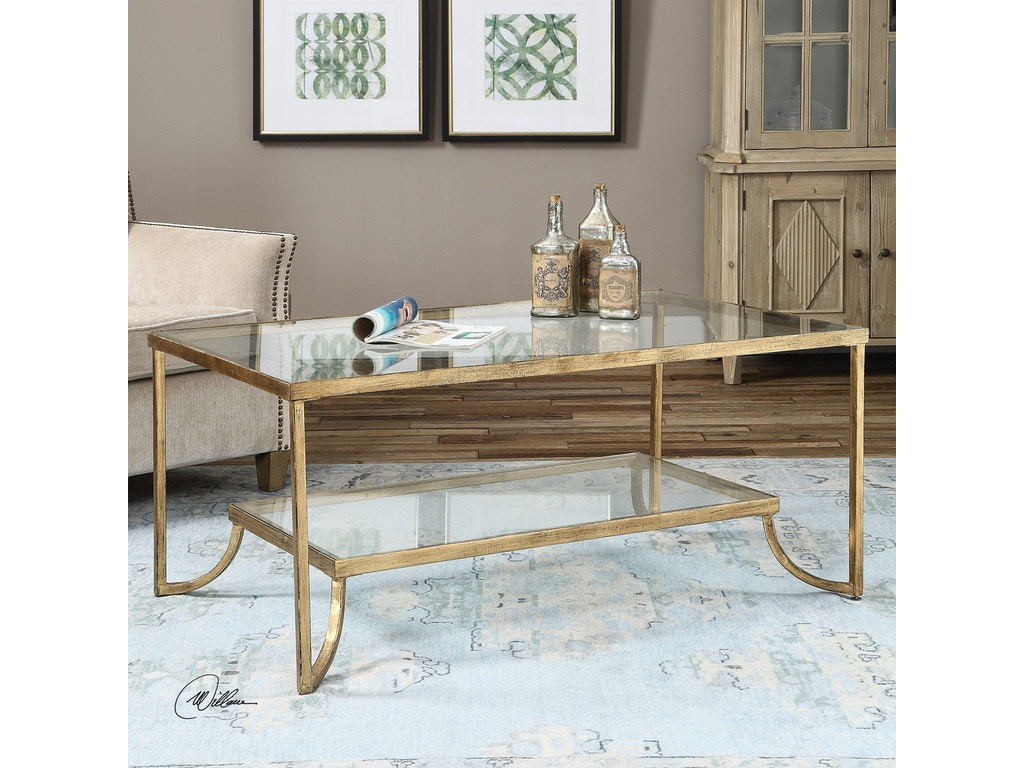Uttermost Living Room Katina Gold Leaf Coffee Table 24540 Carol House Furniture Maryland
