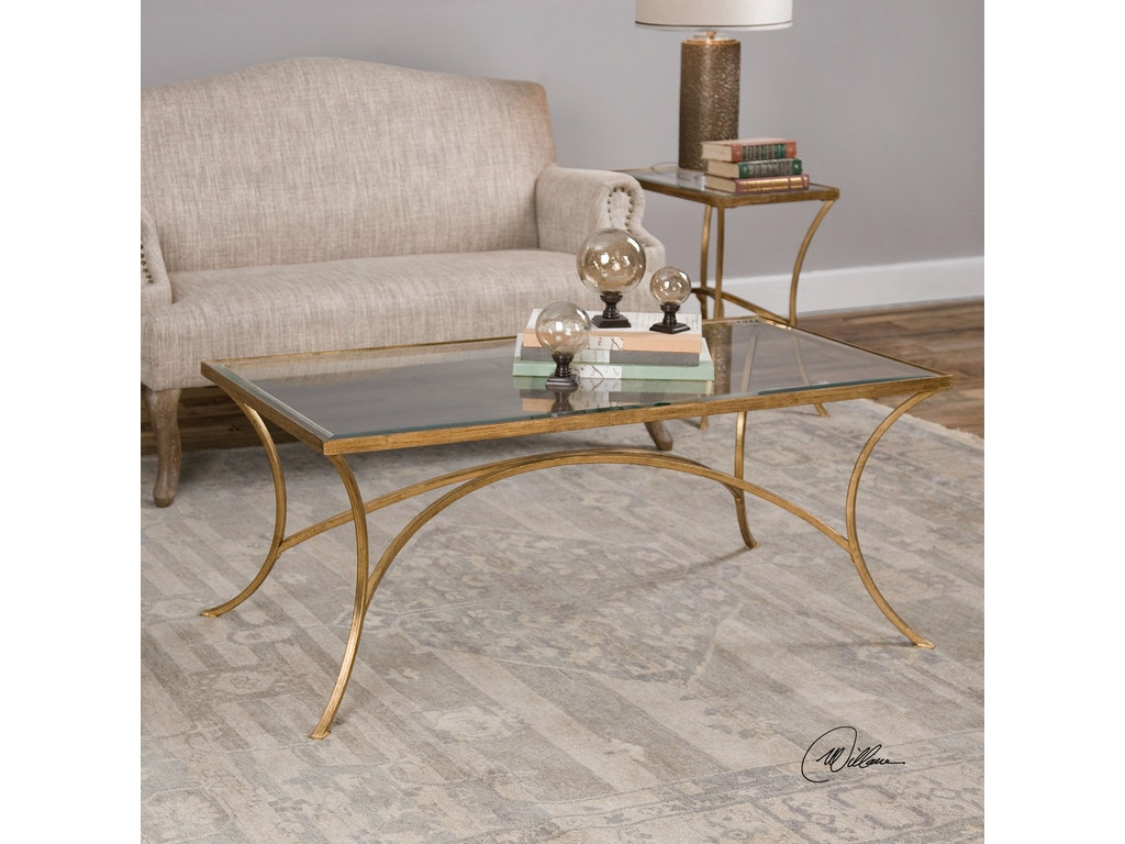 Uttermost Living Room Alayna Gold Coffee Table 24639 Hickory Furniture Mart Hickory Nc