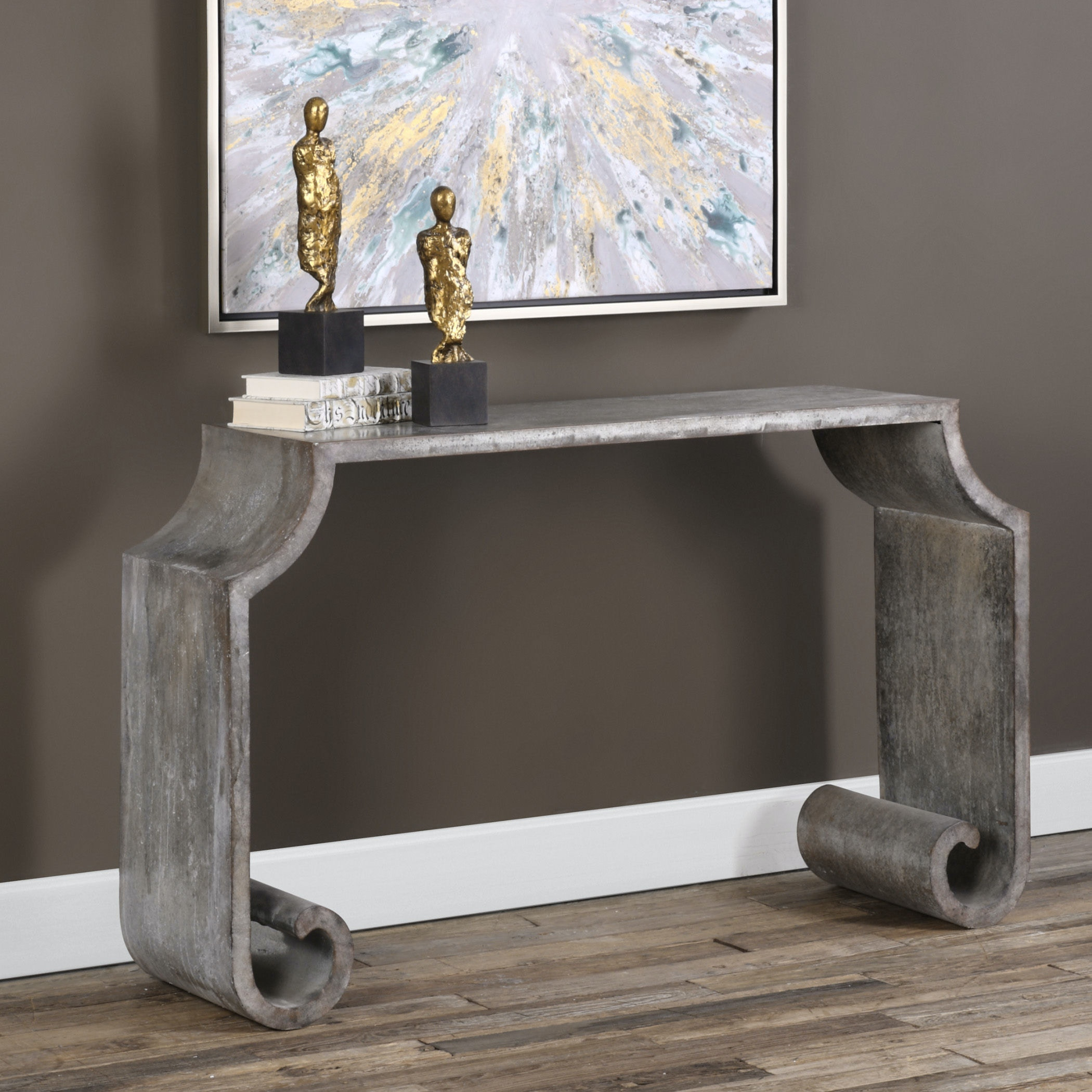 Uttermost Agathon Stone Gray Console Table 24672