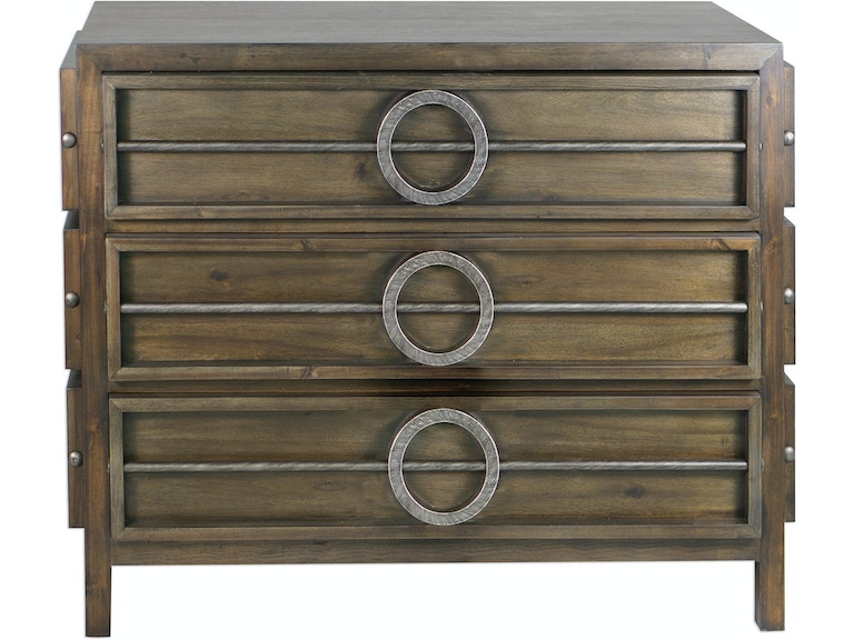 Uttermost Bedroom Riley Weather Walnut Accent Chest 25306