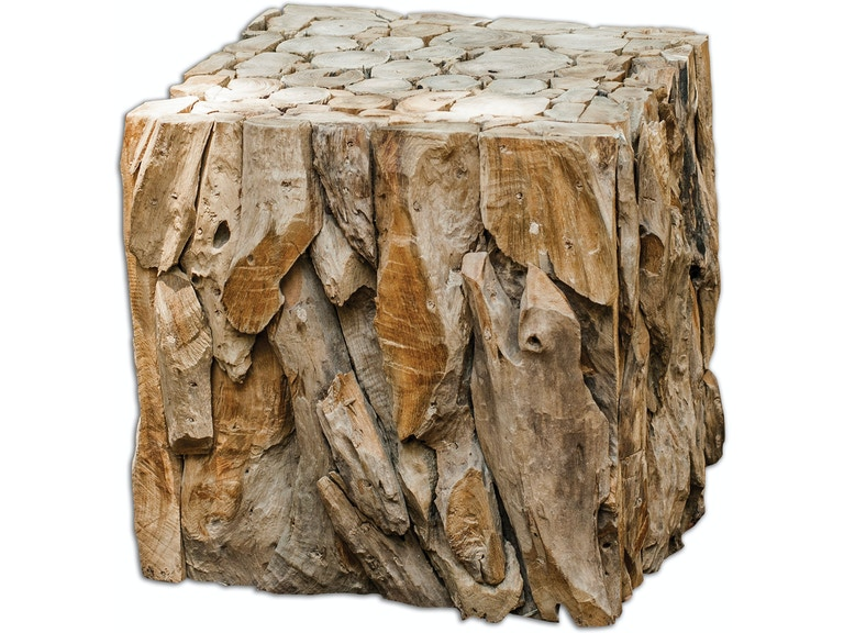 Uttermost Living Room Teak Root Bunching Cube 25592 Matter