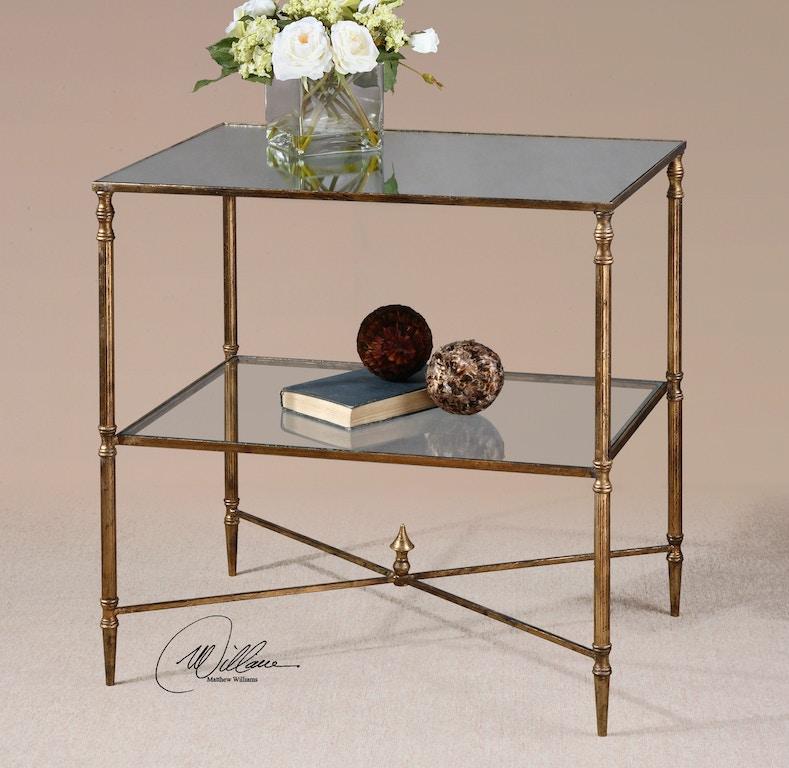 Uttermost Living Room Henzler Mirrored Glass Lamp Table - Uttermost henzler coffee table