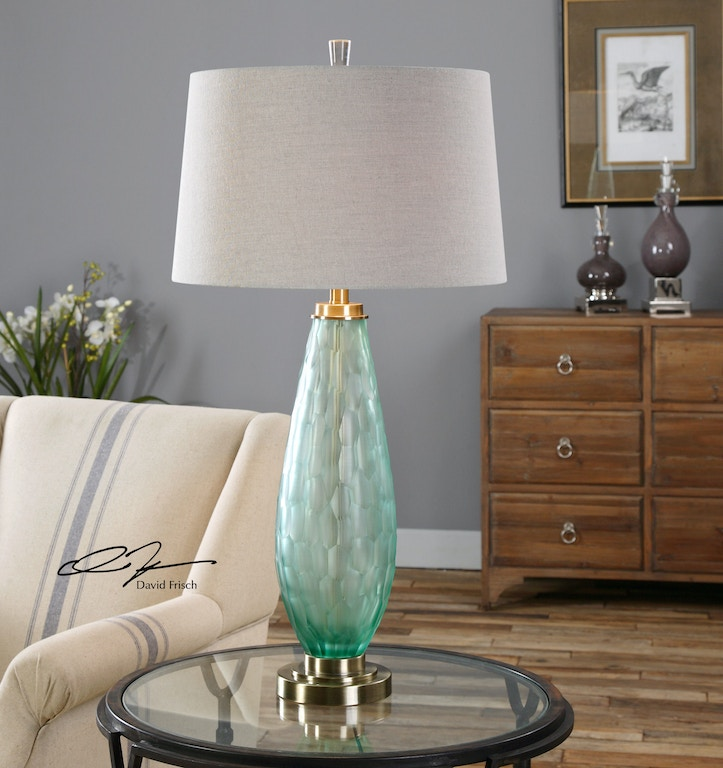 Uttermost Lamps And Lighting Lenado Sea Green Glass Table Lamp