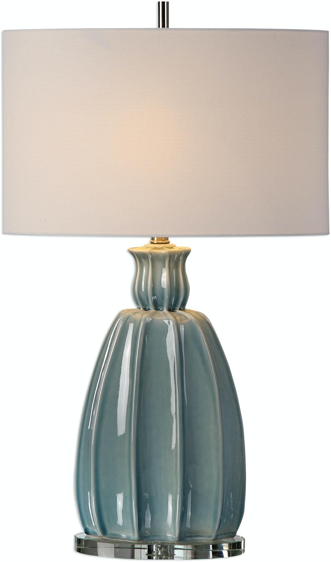Uttermost suzanette sky blue ceramic lamp 27251