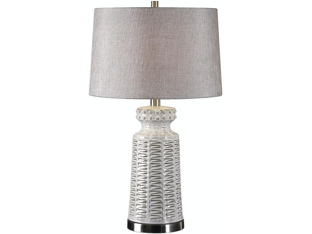 Uttermost Lamps And Lighting Kansa Distressed White Table Lamp Ut275351 Walter E Smithe Furniture Design