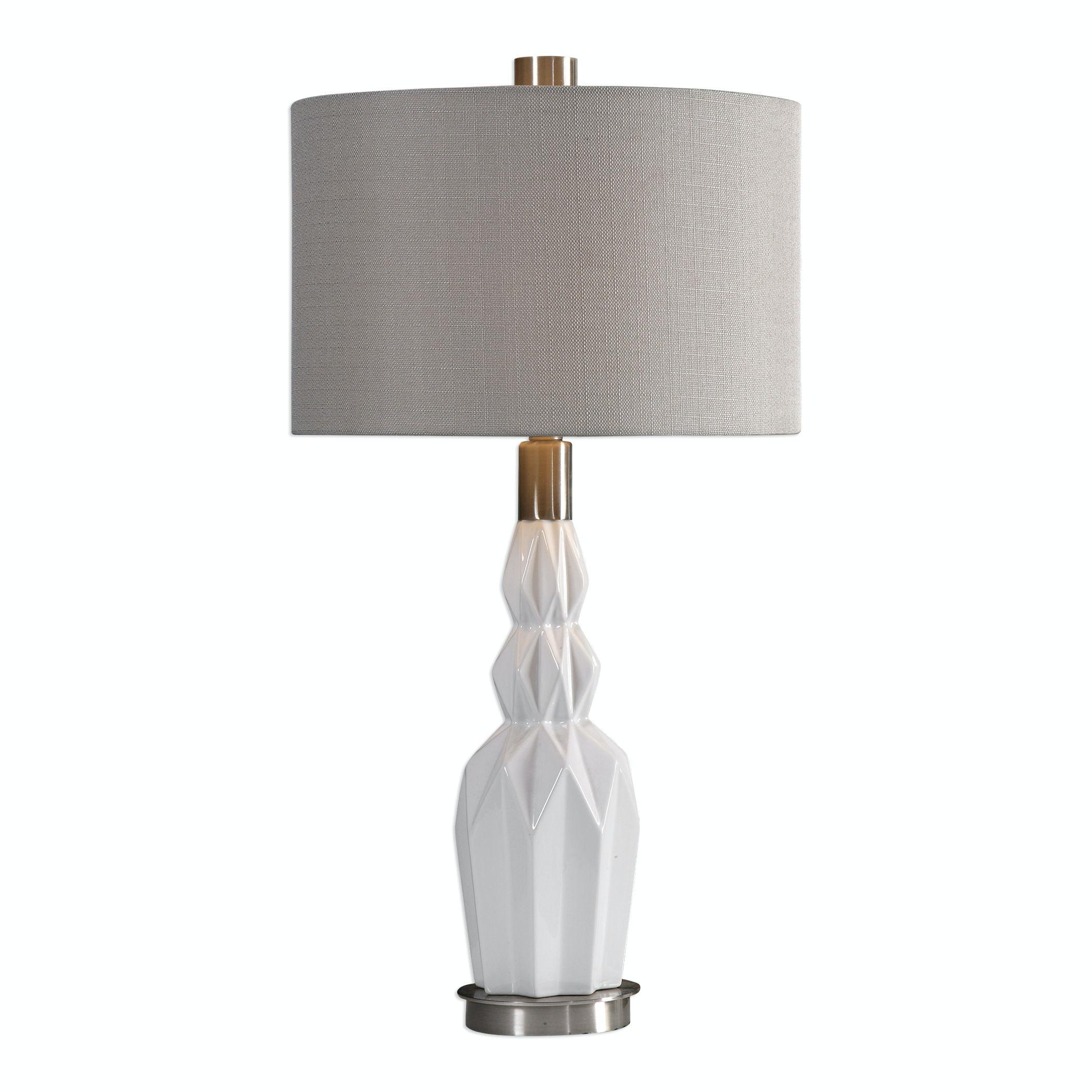 Cabret Gloss White Ceramic Table Lamp Ut277141