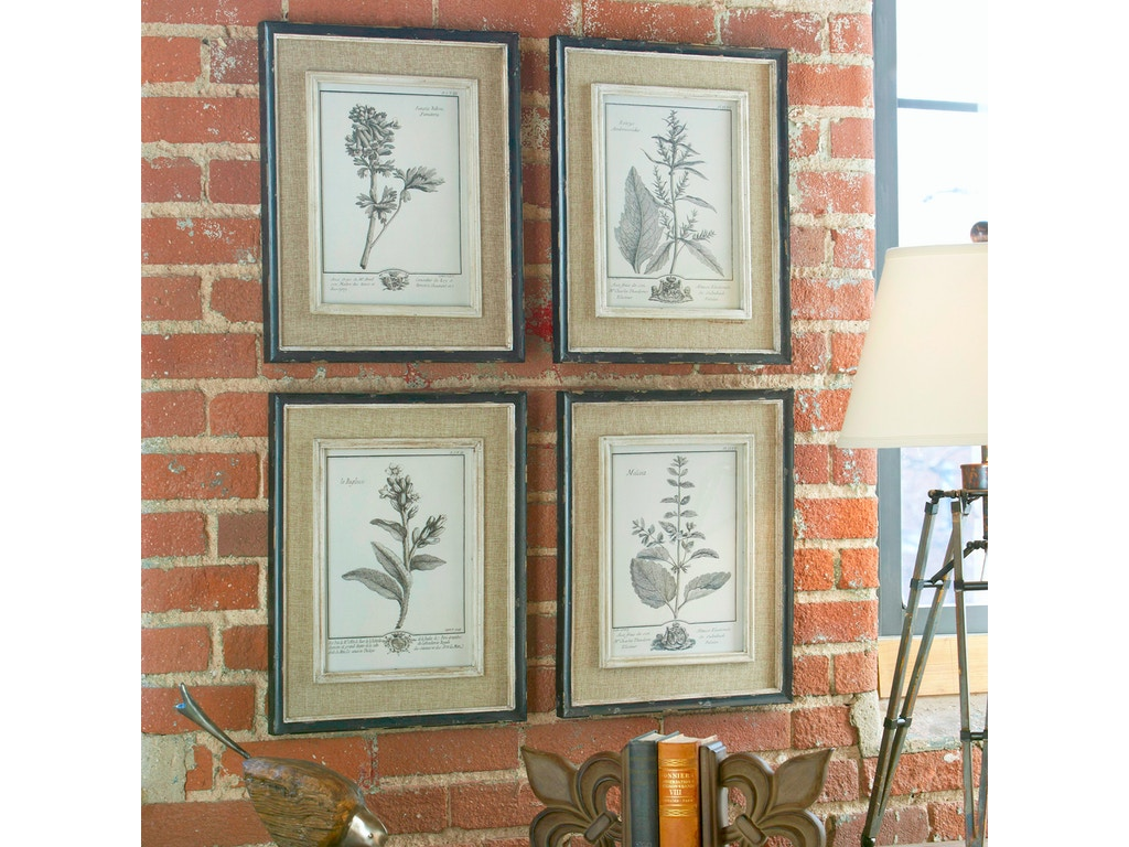 Uttermost accessories casual grey study framed art set 4 32510 strobler home furnishings - Home decor columbia sc set ...