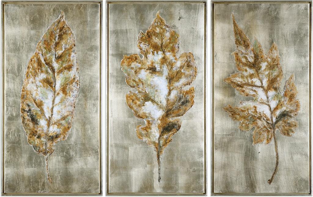 Champagne Leaves Modern Art S/3