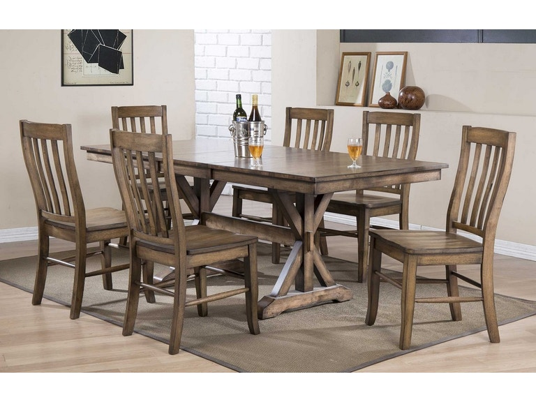 7PC SET 78 Inches Table With 18 Inches Butterfly Leaf & 6 Side Chairs