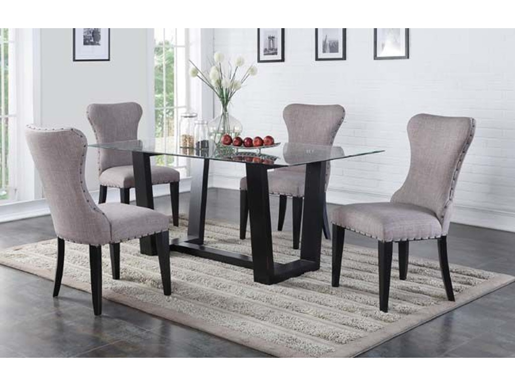 Winners only dining room 70 inches glass top table for Dining room furniture charlotte nc