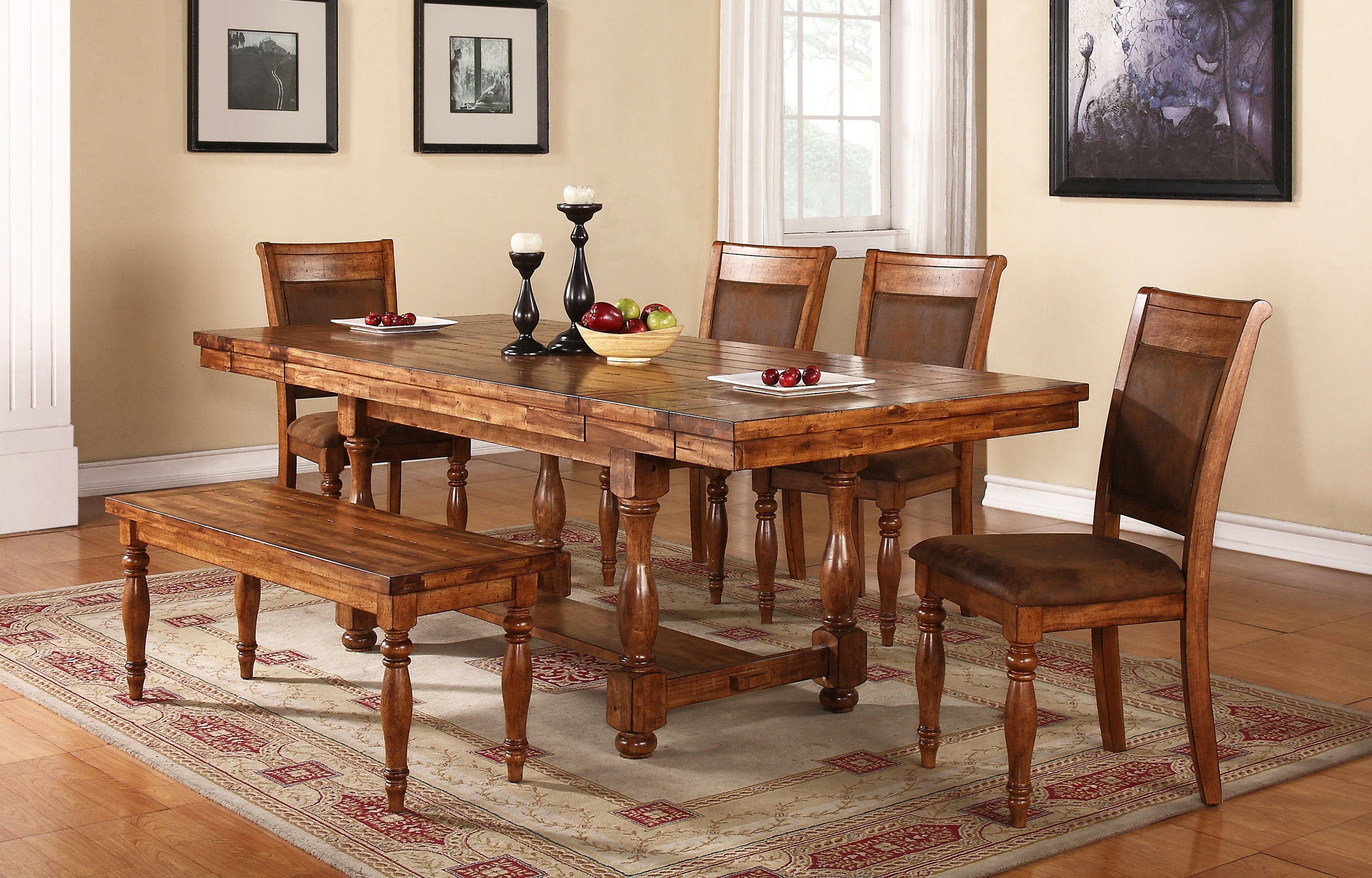 Winners Only 92 Inch Trestle Table With 2-12 Inch Leaves and 6 chairs DG24092 & Winners Only 92 Inch Trestle Table With 2-12 Inch Leaves and 6 ...