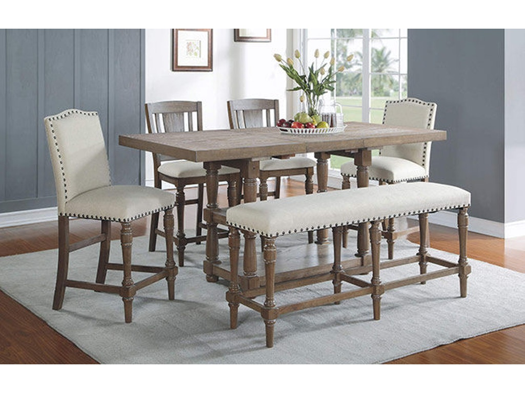 Shown With Slat Back Barstool Upholstered And Bench 78 Inch Tall Table 18 Butterfly Leaf DXT13678G Winners Only