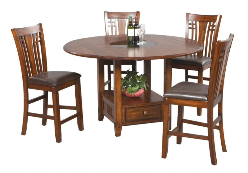 Winners Only 42 Inches Tall Square To Round Table With Granite Lazy Susan  DZH54260