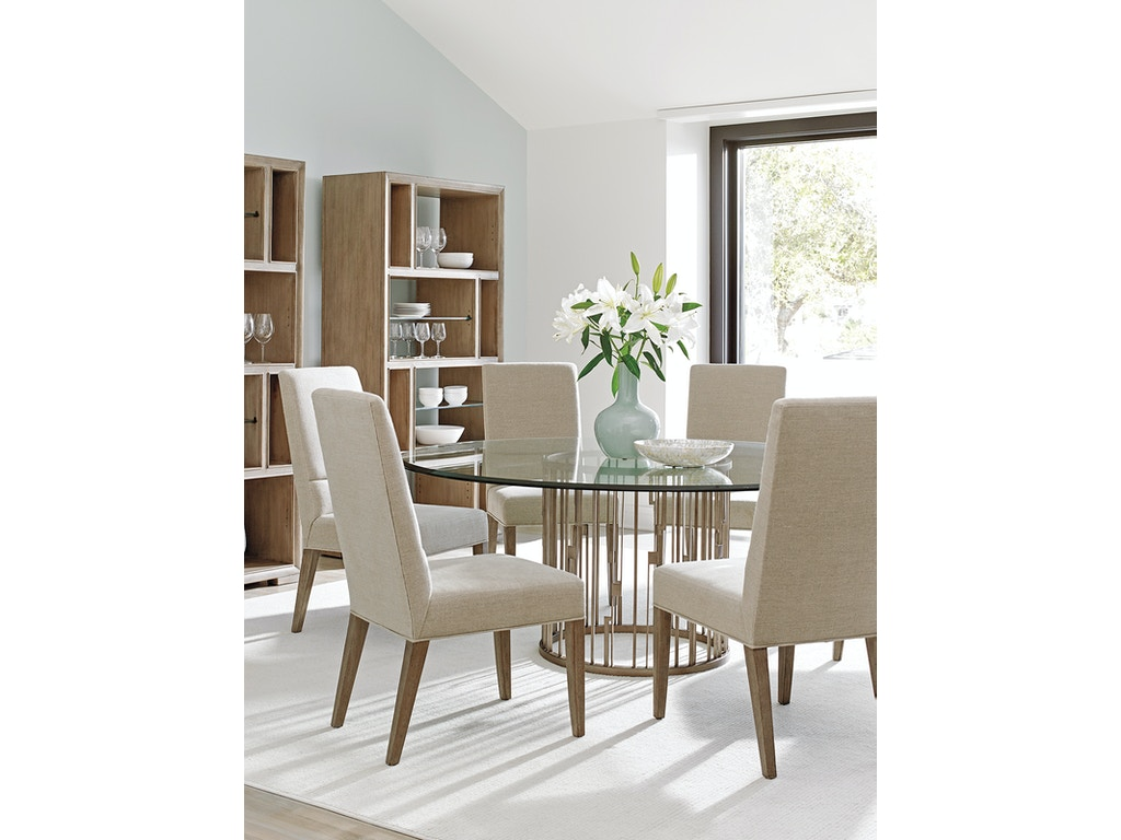 rendezvous round metal dining table base lx010725875b. Black Bedroom Furniture Sets. Home Design Ideas