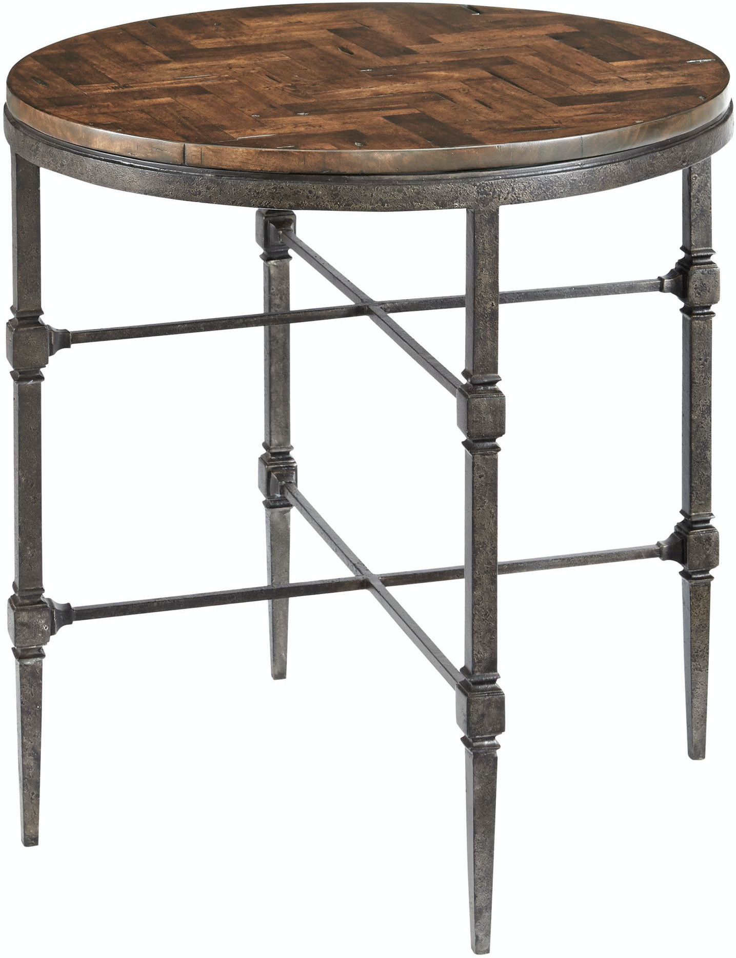 Bernhardt Living Room End Table With Wood Top And Metal