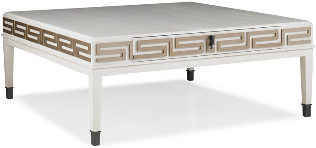 Hickory White Living Room Greek Key Cocktail Table 243 11 Shofers