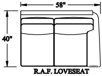 Bradington Young Warner Raf Stationary Loveseat 8 Way Tie