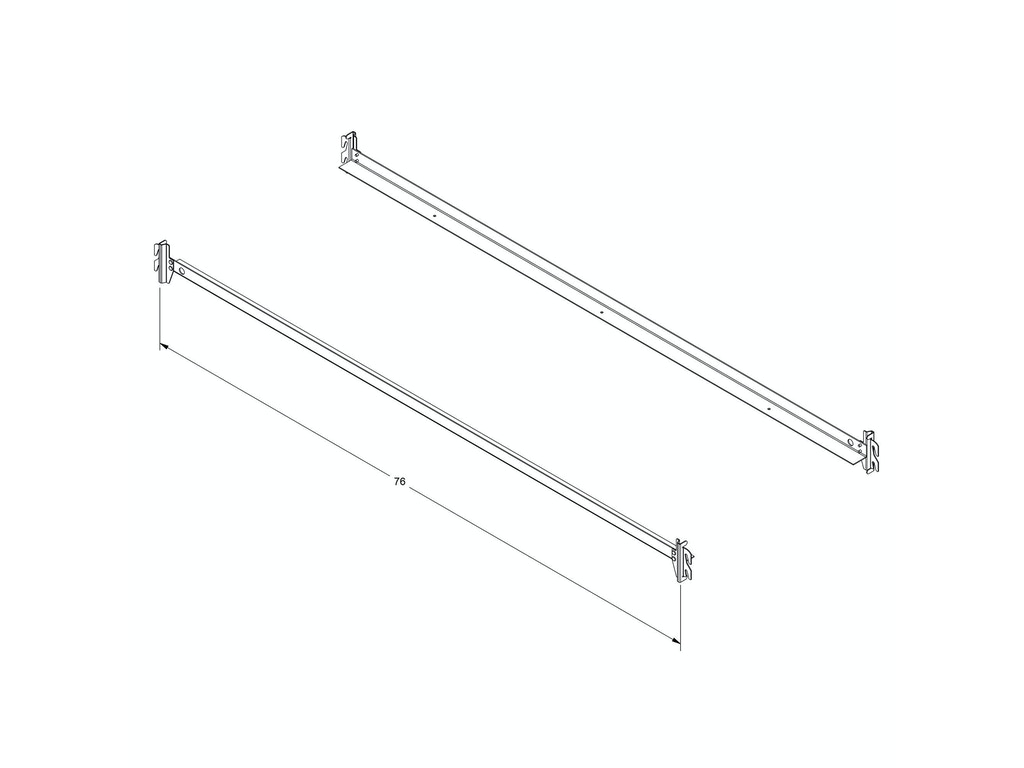 fashion bed group 75 inch 140h bed frame side rails with hook on brackets