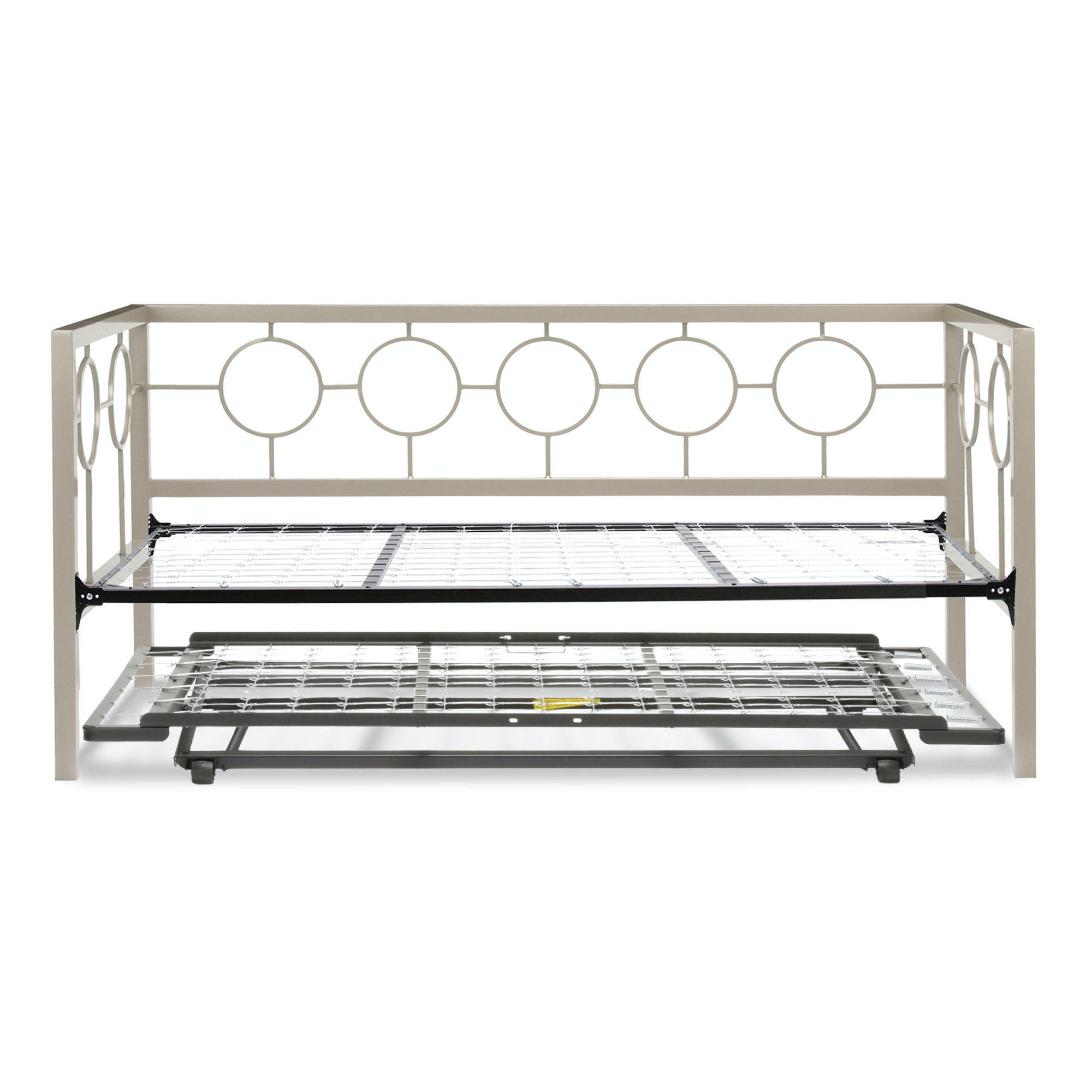 Fashion Bed Group Astoria Complete Metal Daybed With Link Spring And  Trundle Bed Pop Up