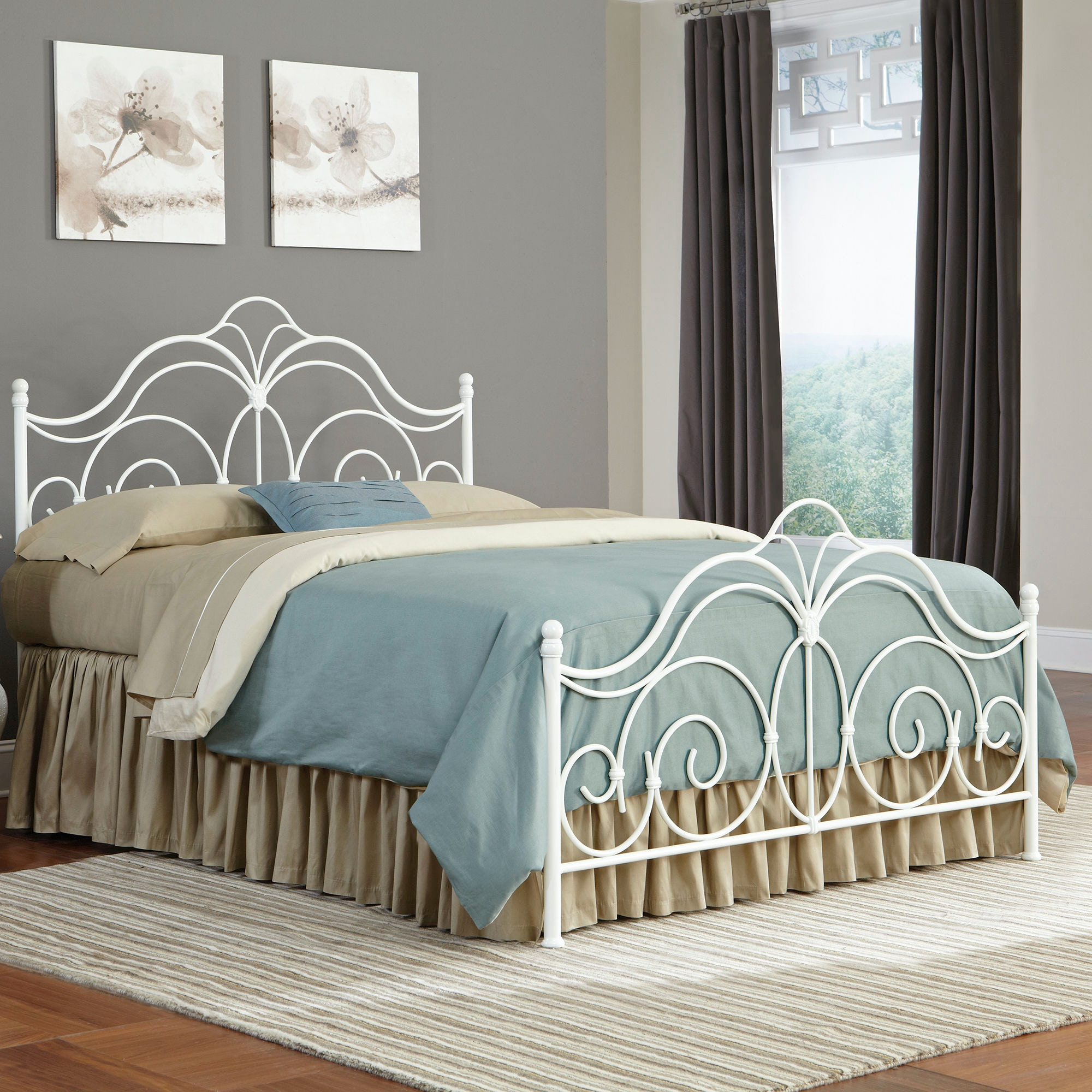 Fashion Bed Group Rhapsody Complete Bed With Curved Grill Design And Finial  Posts, Glossy White