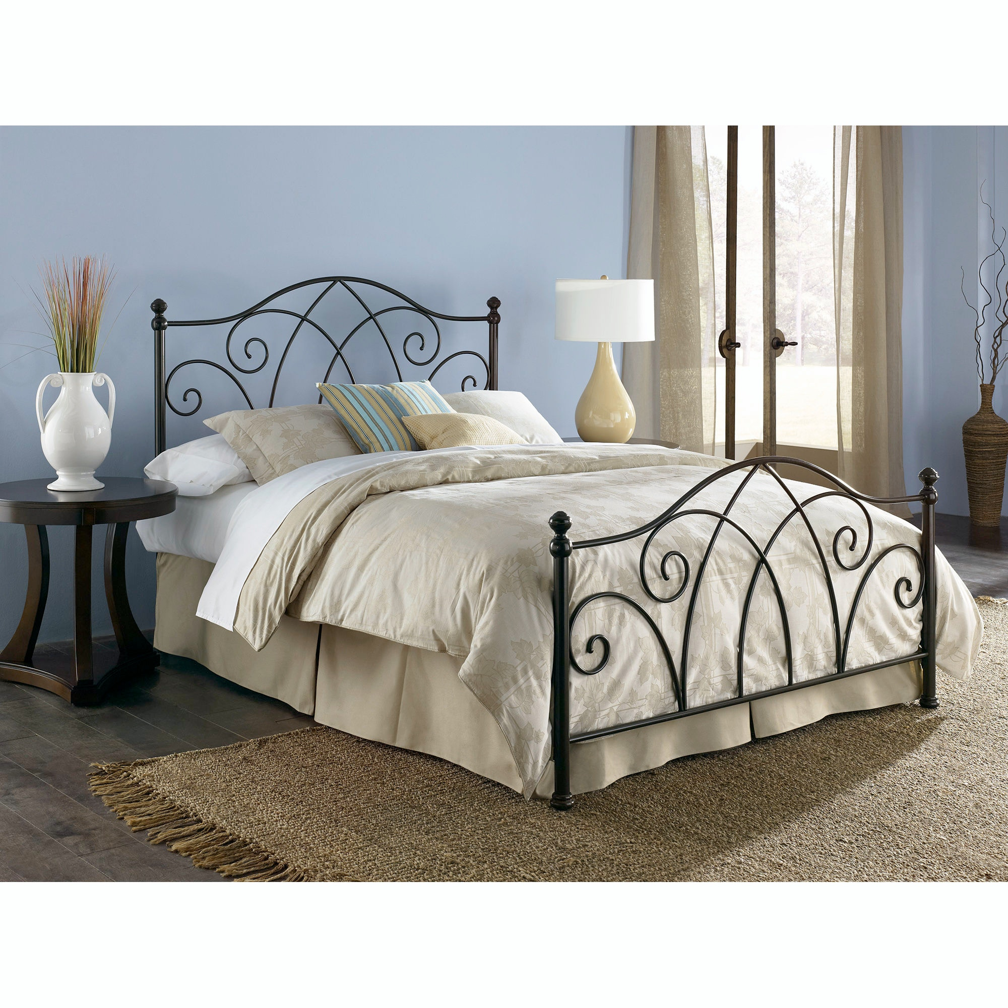 Fashion Bed Group Bedroom Deland Complete Metal Bed And Steel