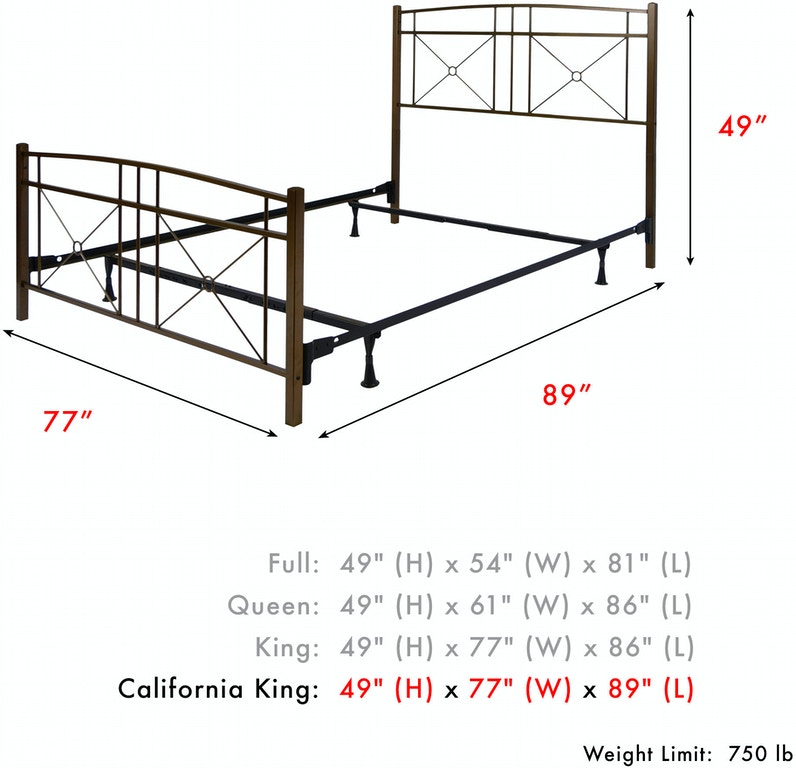 Leggett & Platt Bedroom Russett Complete Metal Bed and Steel