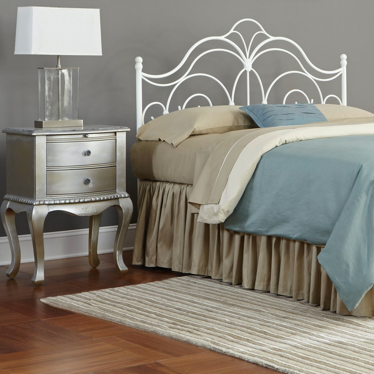 9a48eae9e81 ... Fashion Bed Group Rhapsody Metal Headboard Panel with Delicate Scrolls  and Finial Posts