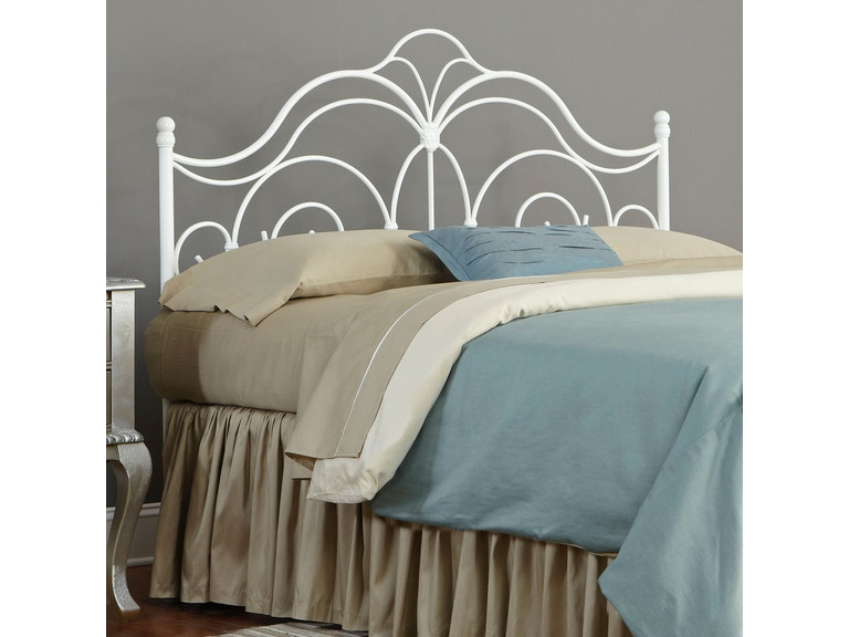 4249eeac7a4 Fashion Bed Group Bedroom Rhapsody Metal Headboard Panel with Delicate  Scrolls and Finial Posts