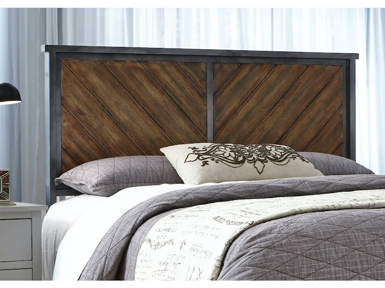Fashion Bed Group Braden Metal Headboard Panel With Reclaimed Wood Design Rustic Tobacco Finish