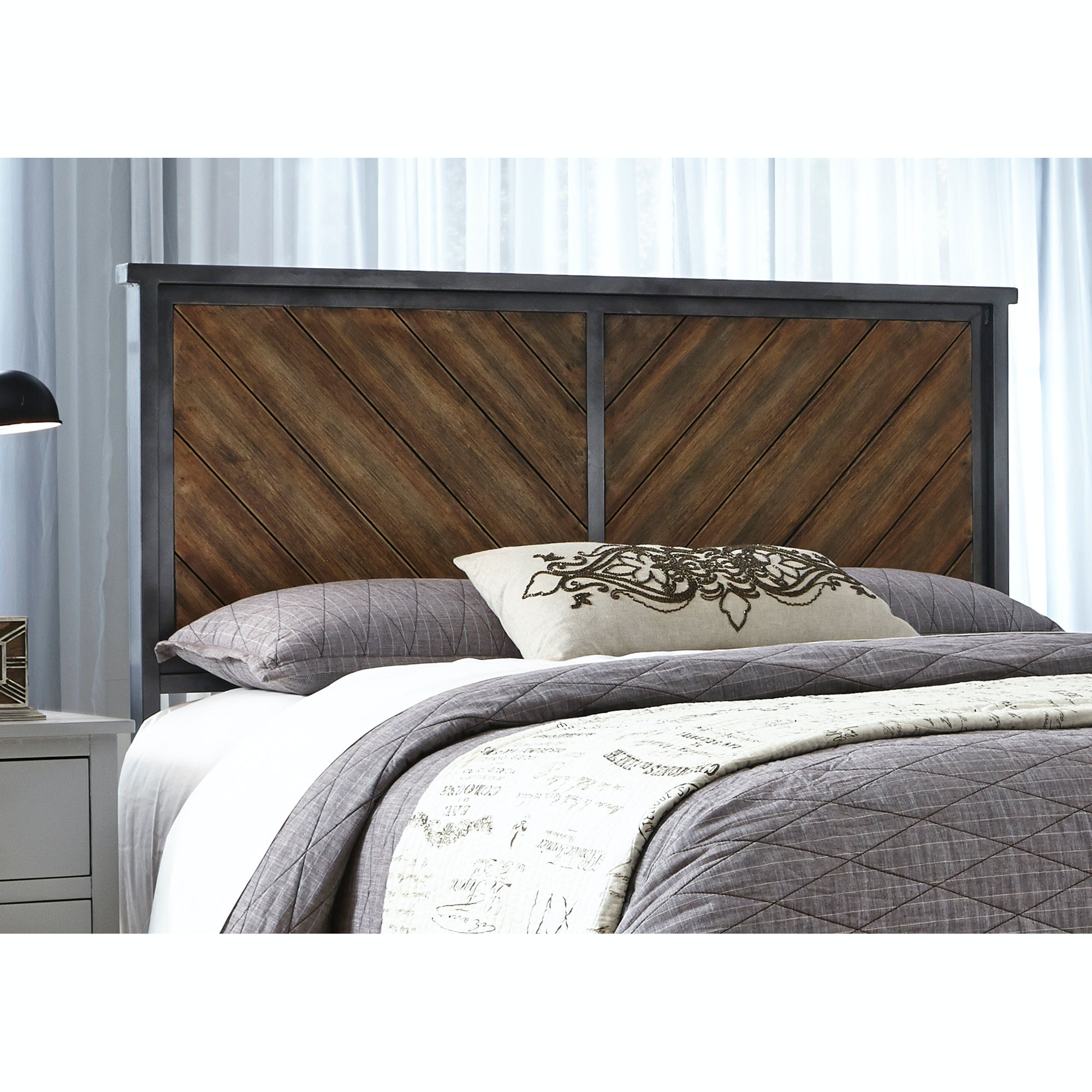 Fashion Bed Group Braden Metal Headboard Panel With Reclaimed Wood Design,  Rustic Tobacco Finish,