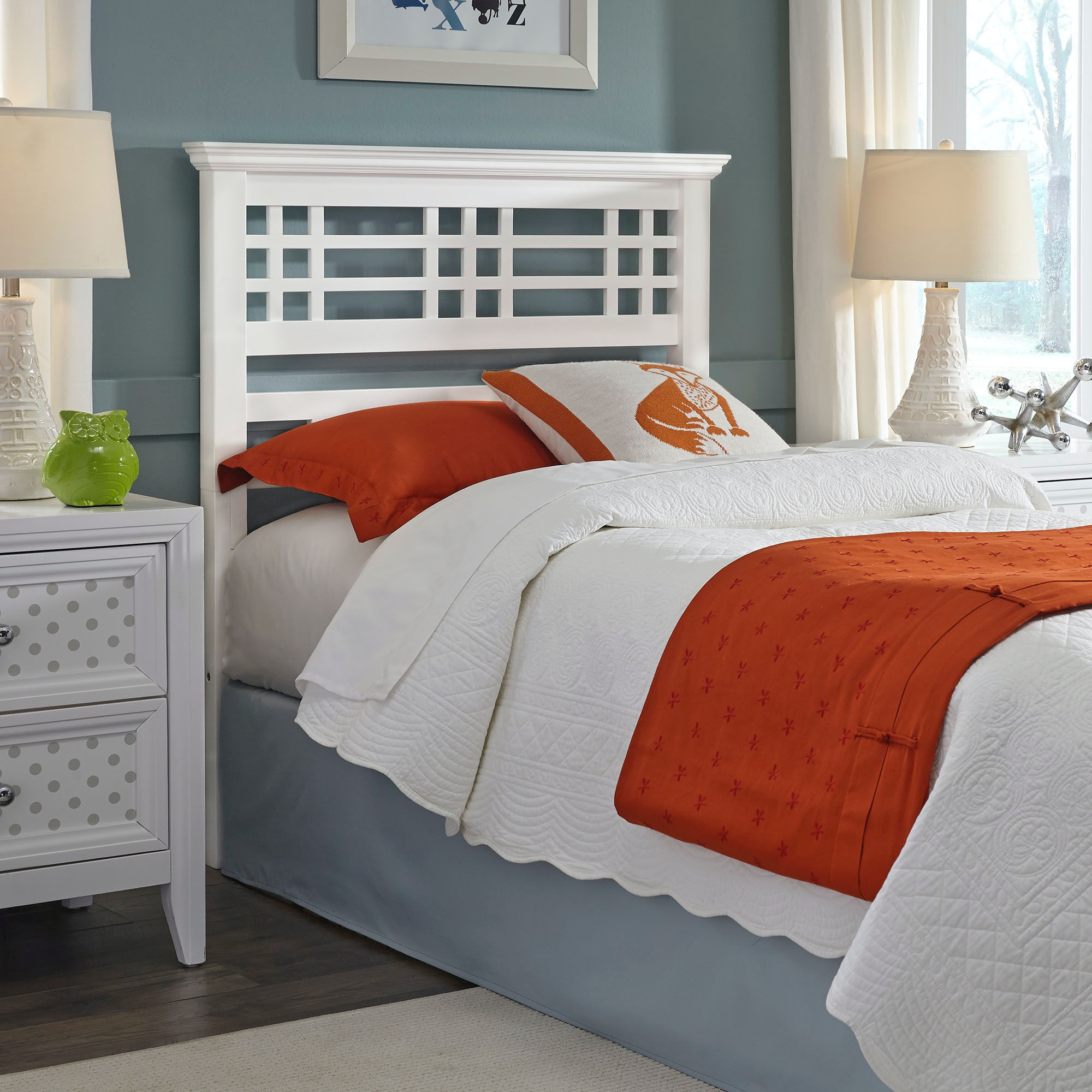 Fashion Bed Group Avery Wooden Headboard With Mission Style Design, Cottage  White Finish, Twin