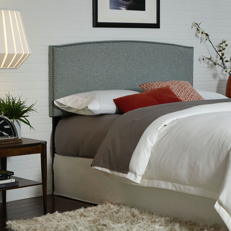 dbb4b3715c4b12 ... Fashion Bed Group Easton Upholstered Headboard with Adjustable Height  and Sloping Nailhead Trim, Keystone Gray ...