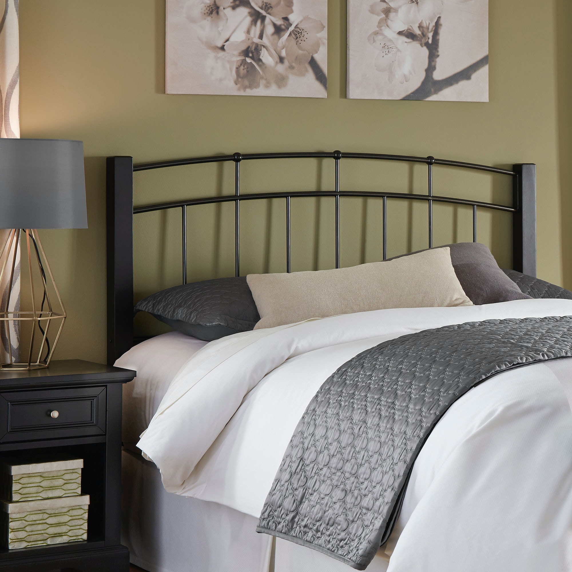 Fashion Bed Group Scottsdale Metal Headboard With Sloping Top Rails And Dark  Espresso Wooden Posts,