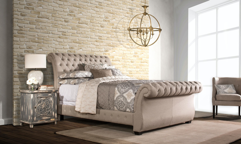 Hillsdale Furniture Bedroom Bombay Bed Set   Queen   Linen Stone